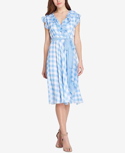 Tahari ASL Ruffled Gingham-Print Dress