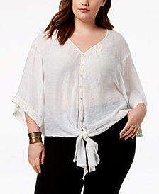 John Paul Richard Plus Size Embroidered Front-Tie Top