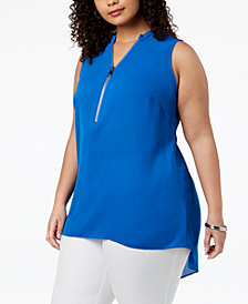 Alfani Plus Size Half-Zip Top, Created for Macy's
