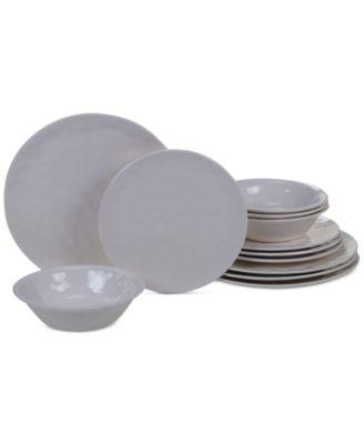 Cream Melamine 12-Pc. Dinnerware Set, Service for 4