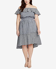 RACHEL Rachel Roy Trendy Plus Size Gingham Off-The-Shoulder Dress