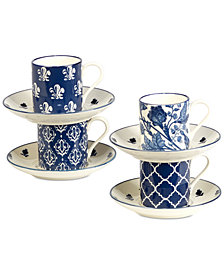 Certified International 8-Pc. Blue Indigo Espresso Cups & Saucers Set