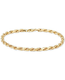Italian Gold Men's Rope Chain (4mm) Bracelet in 14k Gold, Made in Italy