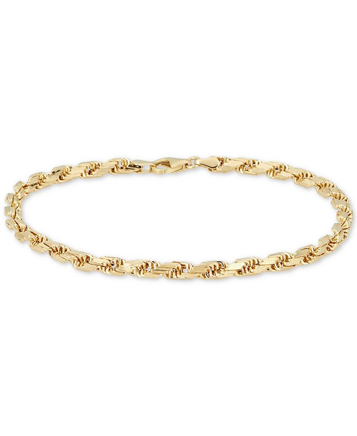 Italian Gold - Men's Rope Chain (4mm) Bracelet in 14k Gold