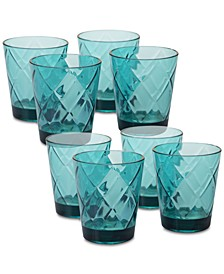 Teal Diamond Acrylic	8-Pc. Double Old Fashioned Glass Set
