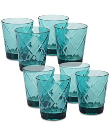 Certified International Teal Diamond Acrylic	8-Pc. Double Old Fashioned Glass Set