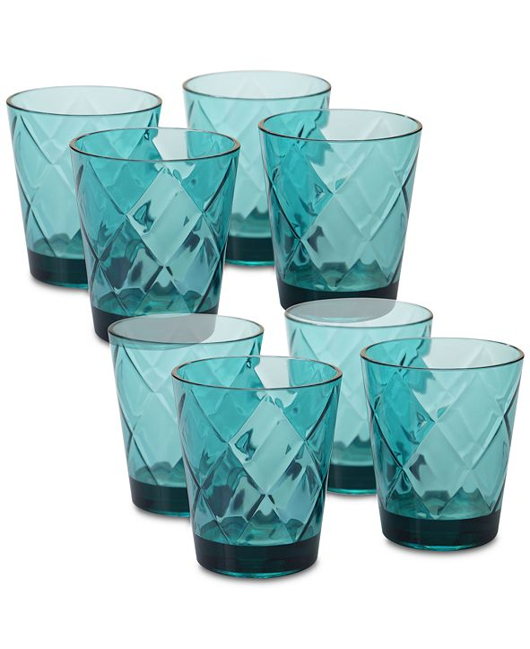 Certified International Teal Diamond Acrylic8-Pc. Double Old Fashioned Glass Set