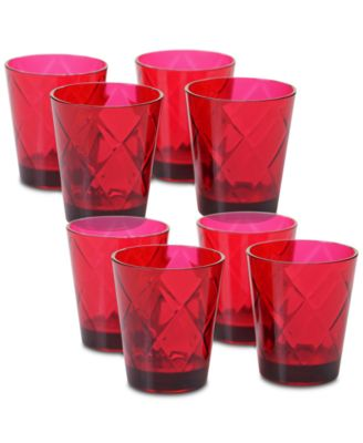Ruby Diamond Acrylic Set of 8 Glasses