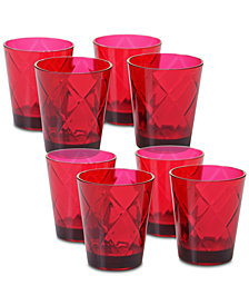 Certified International Ruby Diamond Acrylic Set of 8 Glasses