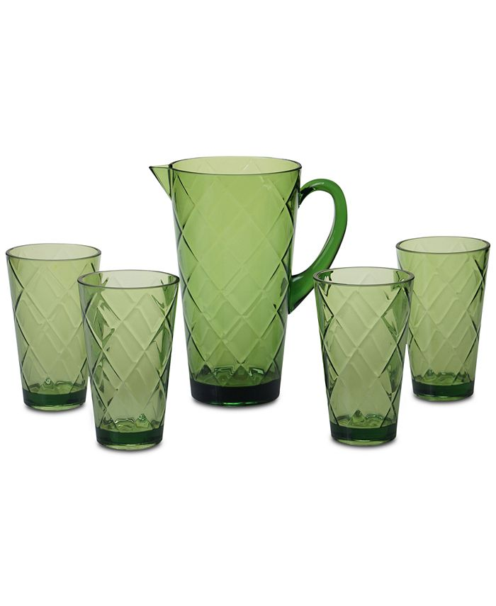 Certified International - Green Diamond Acrylic 5-Pc. Drinkware Set