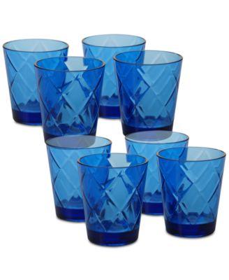 Cobalt Blue Diamond Acrylic 8-Pc. Double Old Fashioned Glass Set