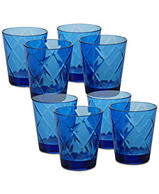 Certified International Cobalt Blue Diamond Acrylic 8-Pc. Double Old Fashioned Glass Set