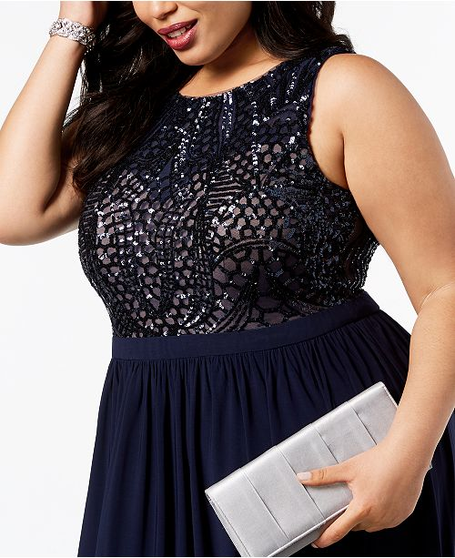 Nightway Plus-Size Sequin-Bodice Gown & Reviews - Dresses