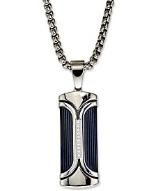 "Esquire Men's Jewelry Diamond Accent Dog Tag 22"" Pendant Necklace, Created for Macy's"