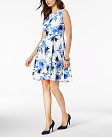 Kasper Floral-Print Fit & Flare Dress