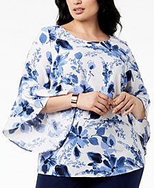 Kasper Plus Size Ruffled-Sleeve Top