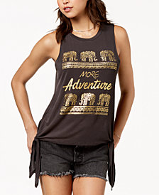 Pretty Rebellious Juniors' Adventure Metallic Graphic Tank Top