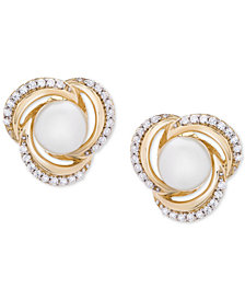 Cultured Freshwater Pearl (6mm) & Diamond (1/6 ct. t.w.) Knot Stud Earrings in 14k Gold