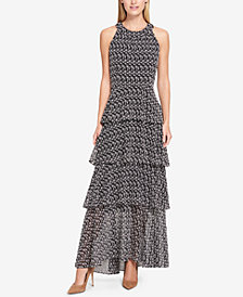 Tommy Hilfiger Tiered Embroidered Maxi Dress