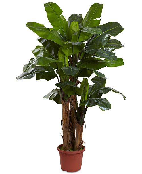 Nearly Natural 7' Indoor/Outdoor UV-Resistant Giant Triple-Stalk Artificial Banana Tree