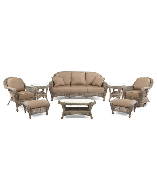 Furniture Sandy Cove Outdoor Wicker 8 Pc Seating Set 1