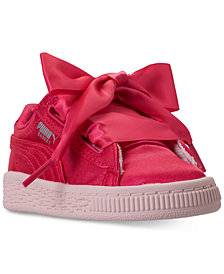 Puma Toddler Girls' Basket Heart Tween Jr Casual Sneakers from Finish Line