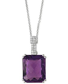 """EFFY® Amethyst (4-3/4 ct. t.w.) & Diamond Accent 18"""" Pendant Necklace in 14k White Gold"""