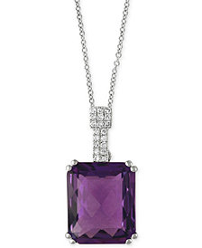 "EFFY® Amethyst (4-3/4 ct. t.w.) & Diamond Accent 18"" Pendant Necklace in 14k White Gold"
