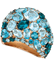 Le Vian Strawberry® & Nude™  Blue Topaz (10-7/8 ct. t.w.) & Diamond (1/8 ct. t.w.) Ring in 14k Rose Gold