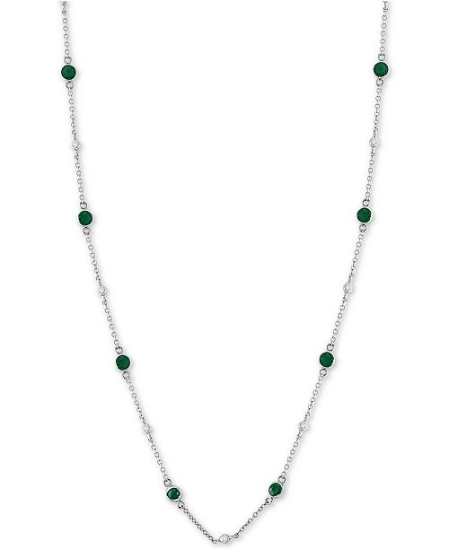 EFFY Collection EFFY® Emerald (1-1/4 ct. t.w.) & Diamond (1/8 ct. t.w.) Station Collar Necklace in 14k White Gold (Also Available in Tanzanite)