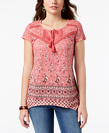 Style & Co Petite Printed Crochet-Trim Top, Created for Macy's