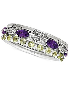 3-Pc. Set Multi-Gemstone Stacking Rings (1-1/10 ct. t.w.) in Sterling Silver