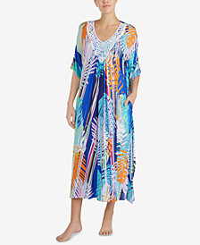 Ellen Tracy Printed Crochet-Neck Caftan