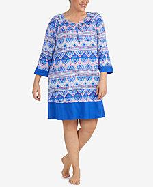 Ellen Tracy Plus Size Printed Sleepshirt