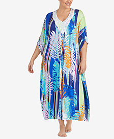 Ellen Tracy Plus Size Printed Crochet-Neck Caftan