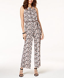 Thalia Sodi Printed Chain-Neck Jumpsuit, Created for Macy's