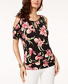 Thalia Sodi Floral-Print Cold-Shoulder Top, Created for Macy's