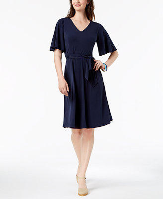 Petite Belted A Line Dress, Created For Macy's by Charter Club
