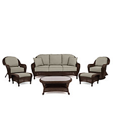 Monterey Outdoor Wicker 6-Pc. Seating Set (1 Sofa, 1 Club Chair, 1 Swivel Chair, 2 Ottomans & 1 Coffee Table) with Custom Sunbrella®,  Created for Macy's