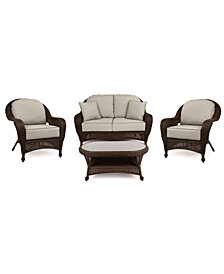 Monterey Outdoor Wicker 4-Pc. Seating Set (1 Loveseat, 2 Club Chairs & 1 Coffee Table) with Custom Sunbrella®,  Created for Macy's
