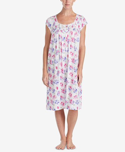 Eileen West Waltz Lace-Trim Knit Nightgown