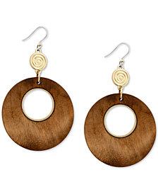 Lucky Brand Gold-Tone & Wood Circle Drop Earrings