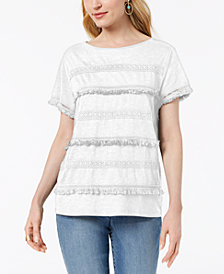 Style & Co Embellished Fringe-Trim T-Shirt, Created for Macy's