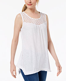 Style & Co Cotton Lattice-Detail Sleeveless Top, Created for Macy's