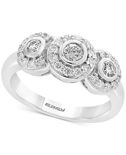 EFFY Collection Pavé Classica by EFFY® Diamond Triple Halo Ring (5/8 ct. t.w.) in 14k White Gold
