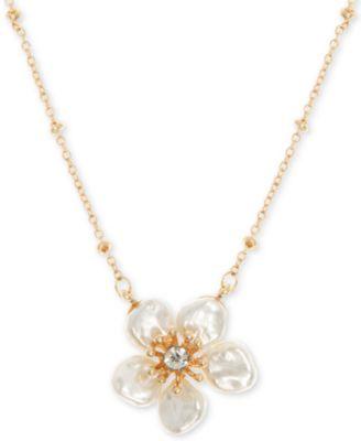 "Gold-Tone Crystal Flower Pendant Necklace, 16"" + 3"" extender"