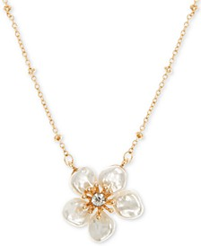 "Gold-Tone Crystal Flower Pendant Necklace, 16"" + 3"" extender"