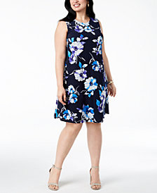Jessica Howard Plus Size Floral-Print Shift Dress