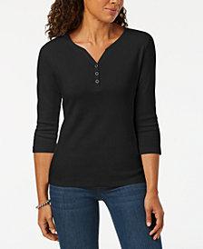 Karen Scott Petite Cotton Henley Top, Created for Macy's