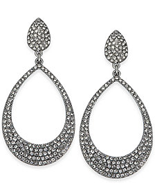 I.N.C. Silver-Tone Pavé Drop Hoop Earrings, Created for Macy's